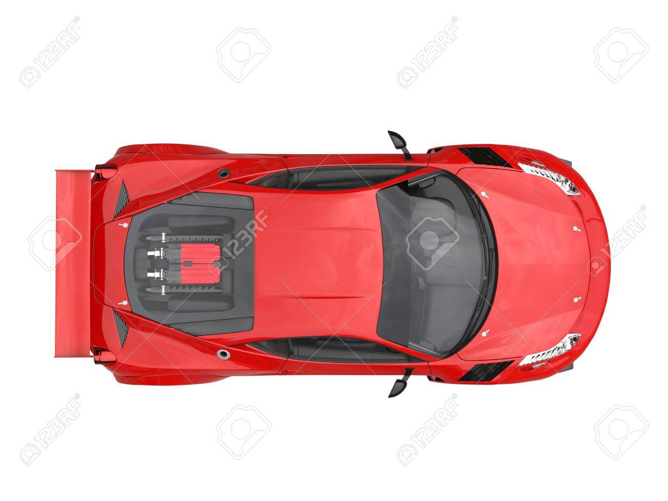 Fire Red Sports Car Top View Stock Photo Picture And Royalty Free