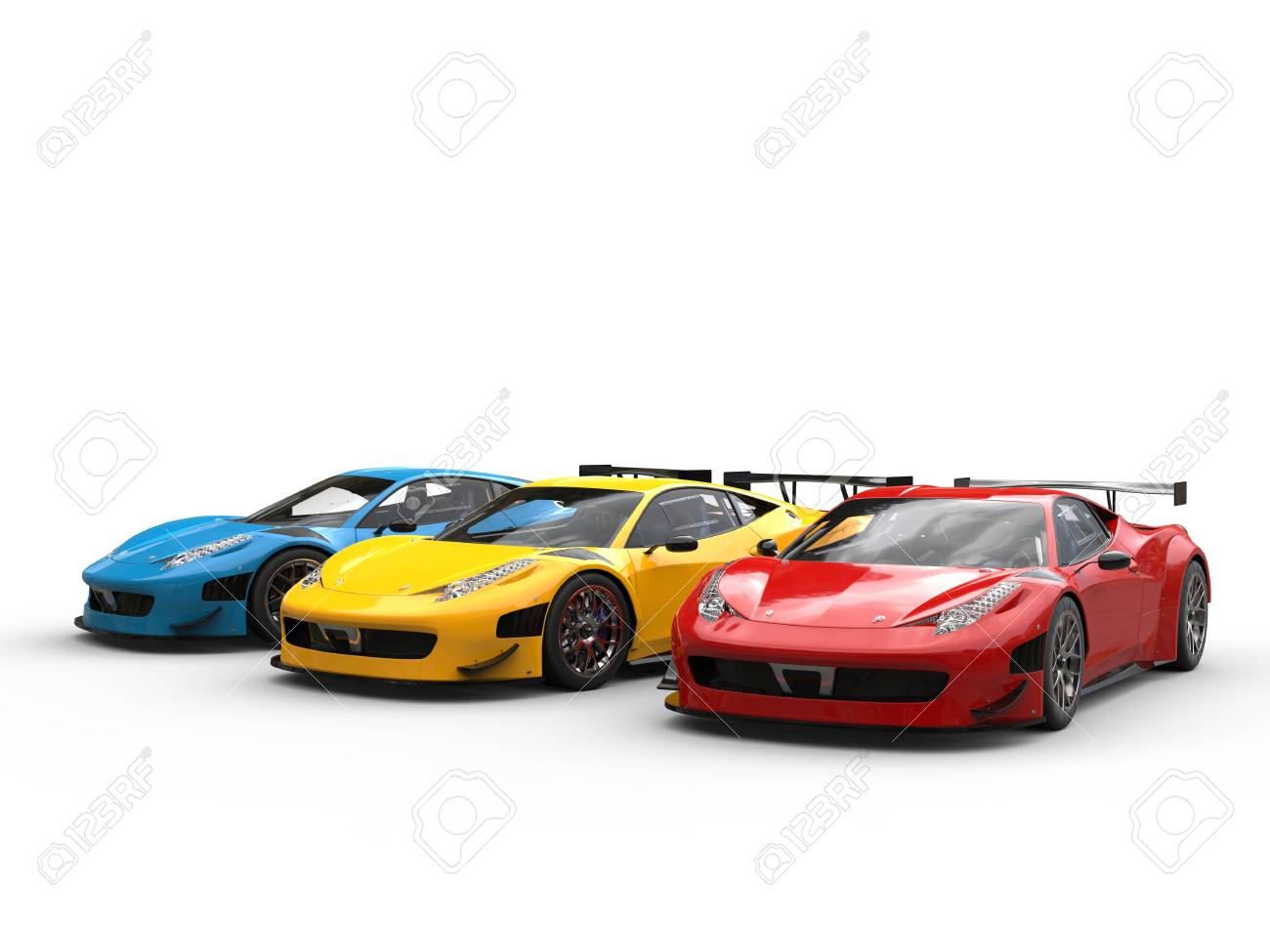 Modern Luxury Sportscars In Red, Yellow And Blue - Studio Shot Stock