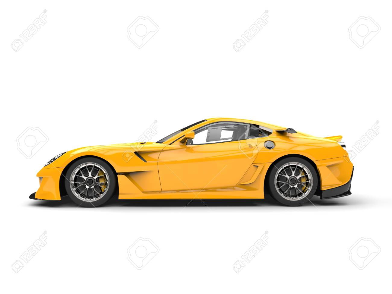 Bright Yellow Modern Fast Sports Car Side View Stock Photo