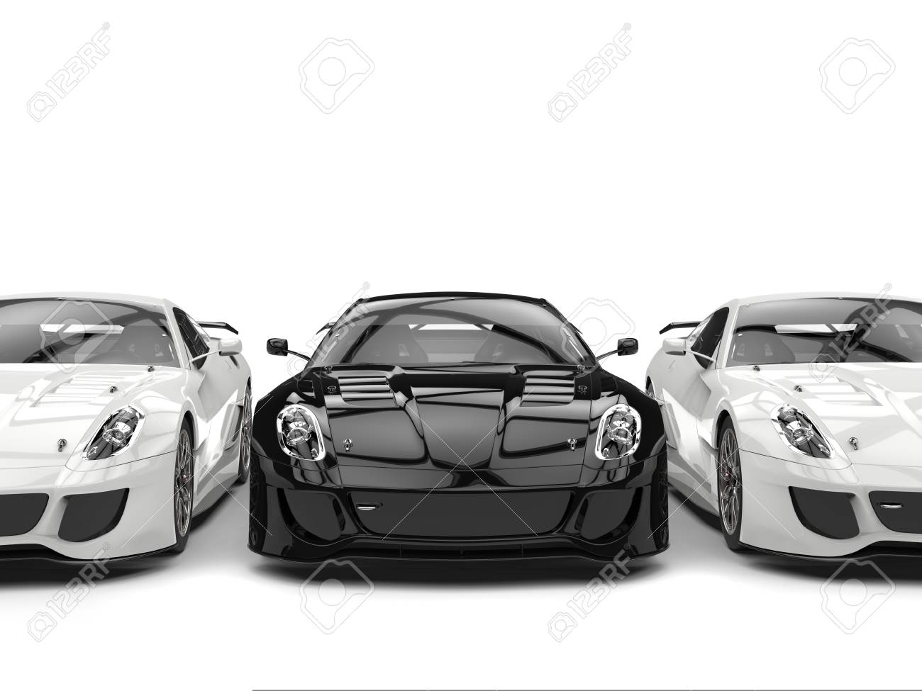 Sublime Modern Black And White Sports Cars Side By Side Stock Photo Picture And Royalty Free Image Image 75343548