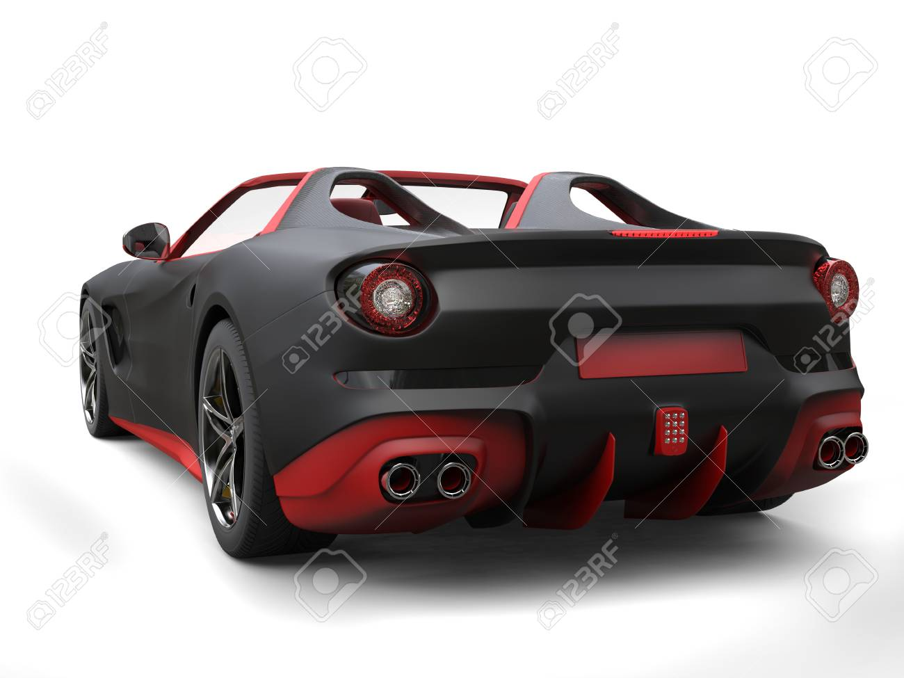 Cutting Edge Sports Car   Matte Black With Fiery Red Details   Back View  Stock Photo