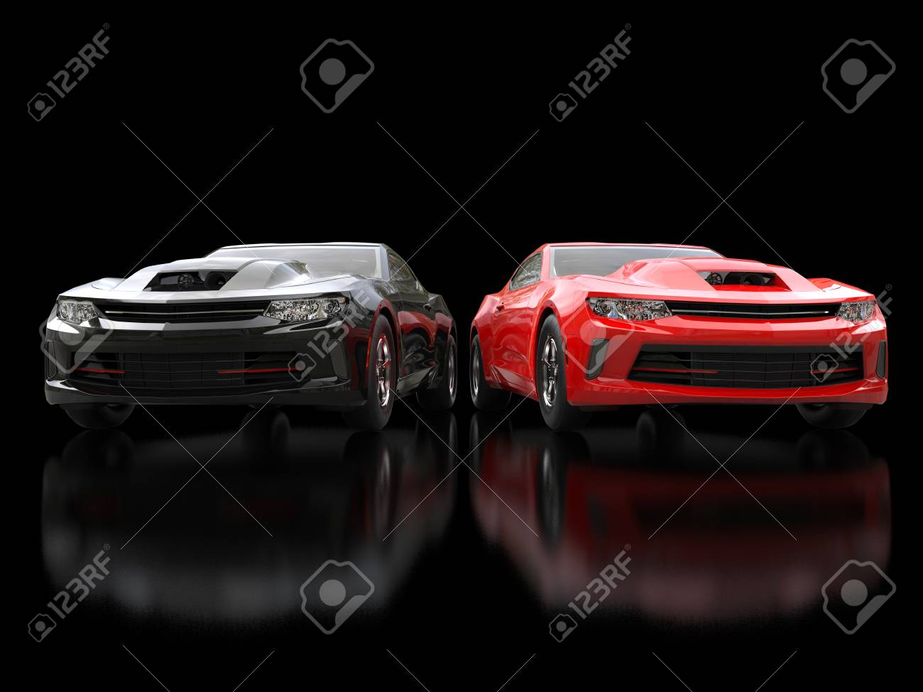 Black And Red Modern Muscle Cars On Black Reflective Background