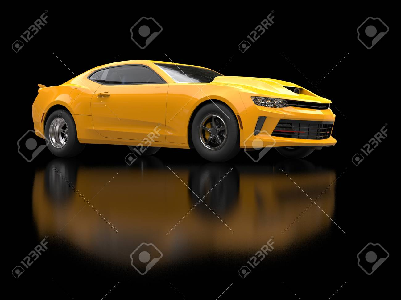 Awesome Sun Yellow Muscle Car On Black Background Stock Photo ...