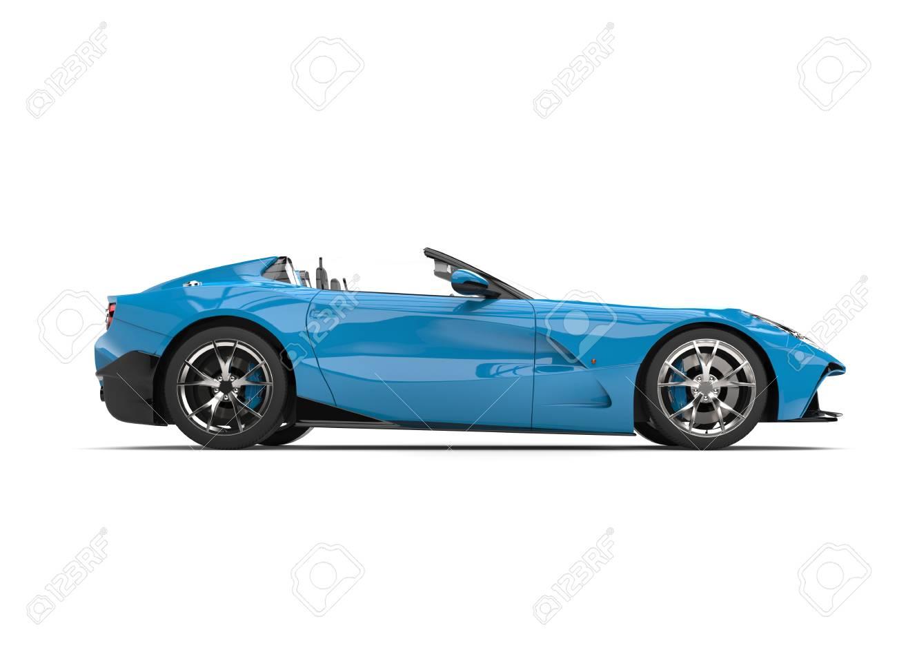 Voiture De Sport Décapotable Moderne Bleu Ciel   Vue De Côté Banque Du0027images