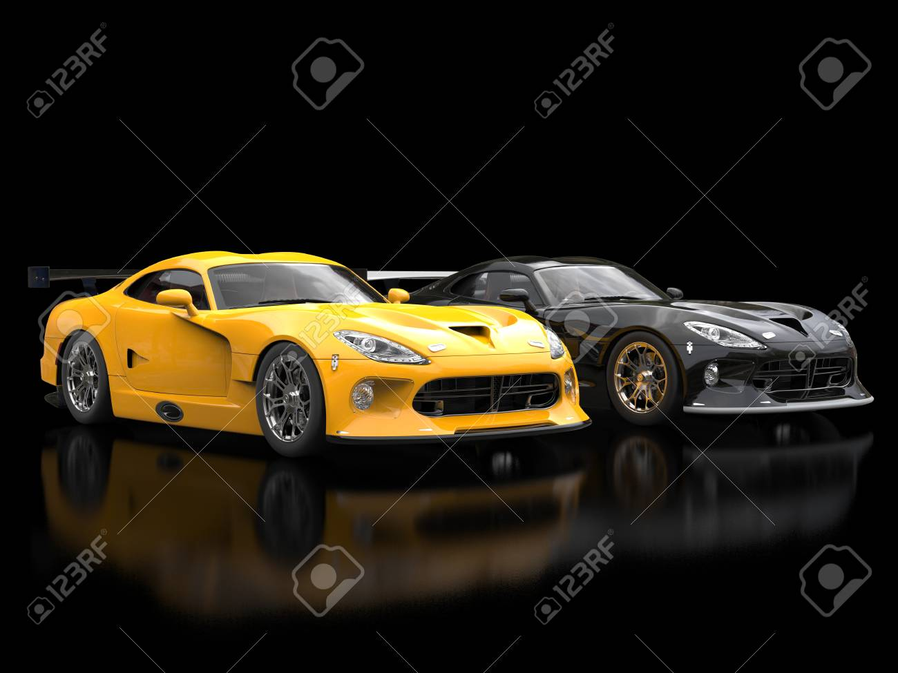 Modern Sports Cars Black And Yellow With Nice Blurry Reflections Stock Photo Picture And Royalty Free Image Image 77297122