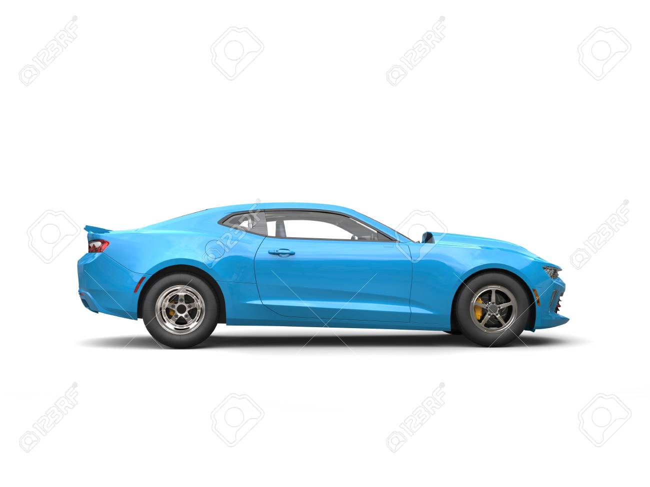 Light Sky Blue Modern Muscle Car - Side View Stock Photo, Picture ...
