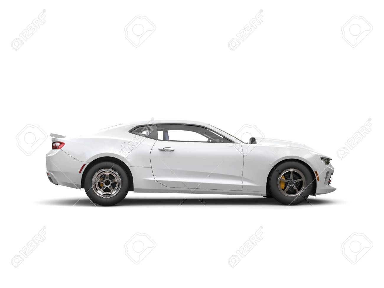 Snow White Muscle Car Side View Stock Photo Picture And Royalty