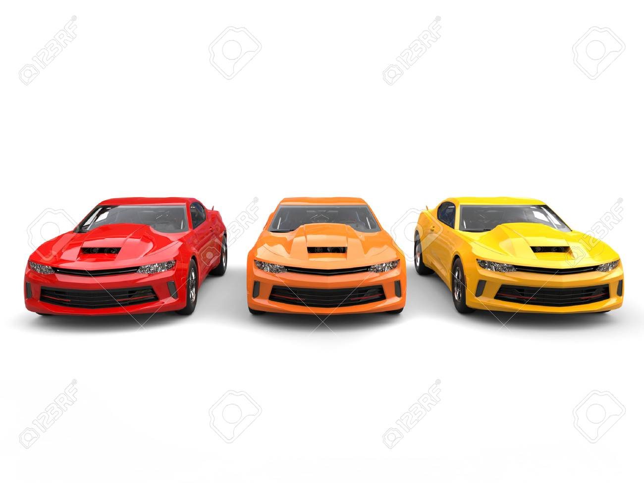 Modern Muscle Cars In Warm Colors - Front View Stock Photo, Picture ...