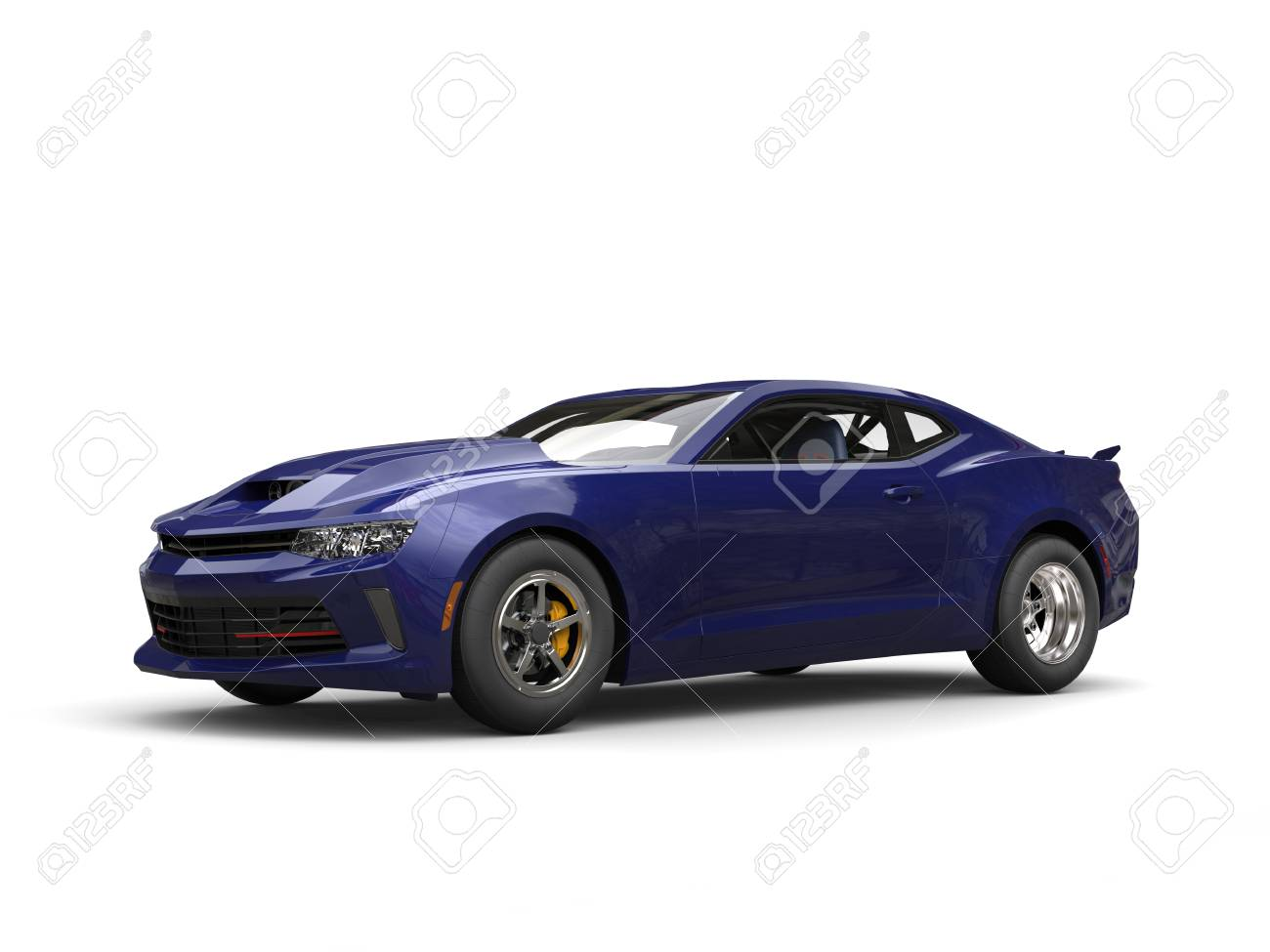 Dark Purple Strong Modern Muscle Car Stock Photo Picture And
