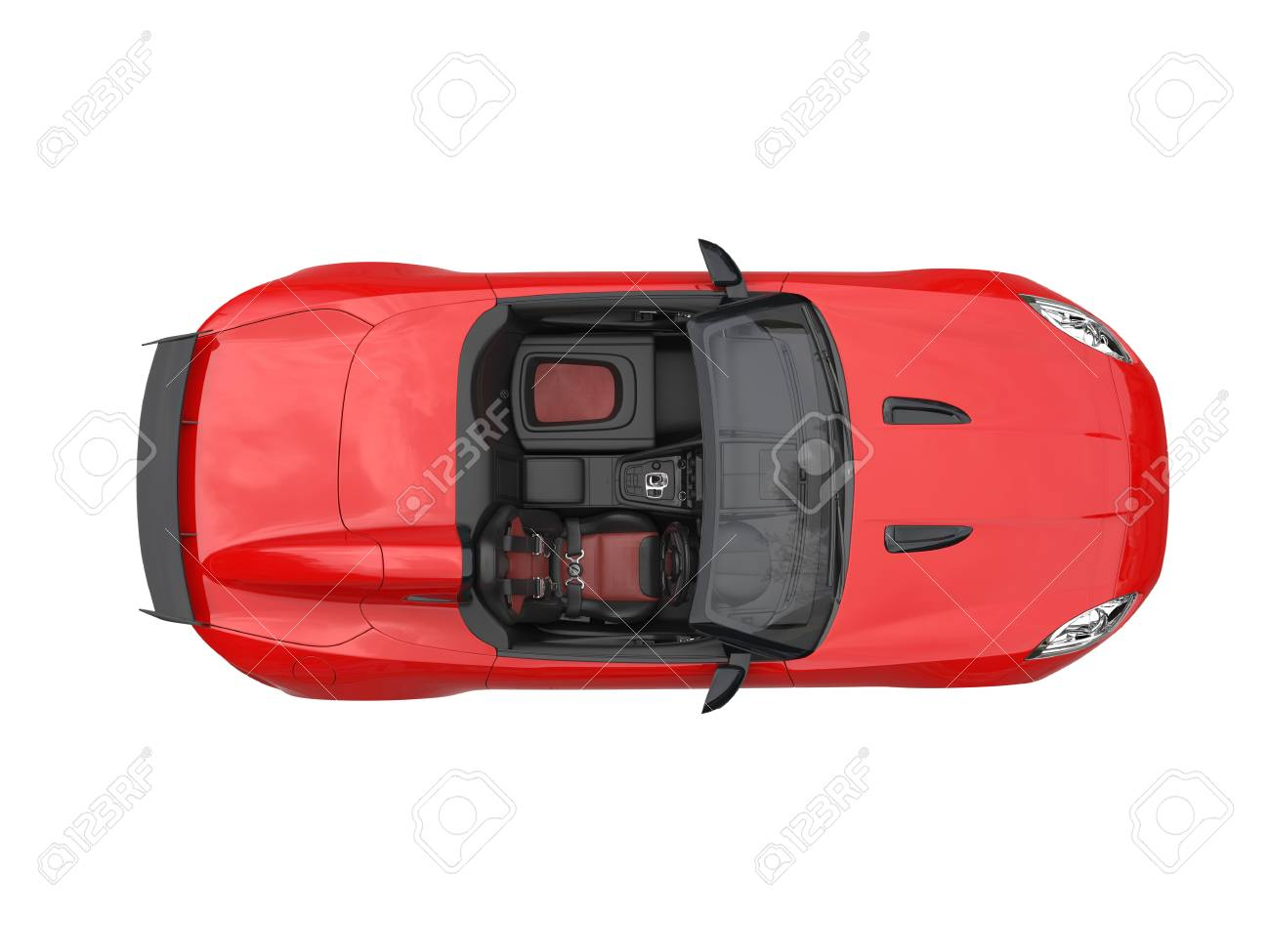 Rich Red Convertible Sports Car Top View