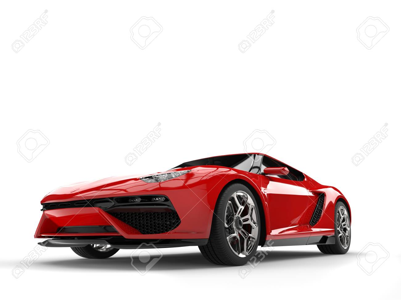 Modern Fire Red Coupe Sports Car Stock Photo Picture And Royalty