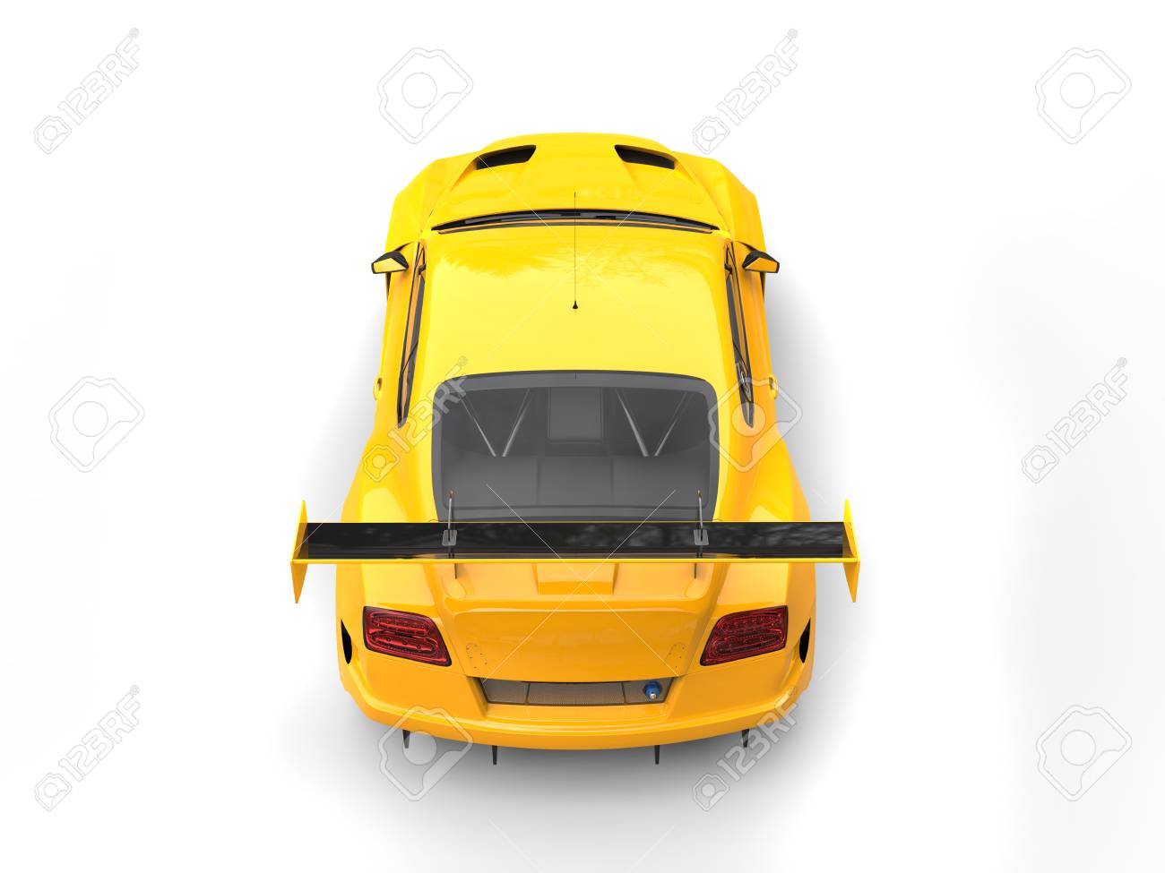 Car Back Top View >> Bright Yellow Modern Sport Super Car Top Back View Stock Photo