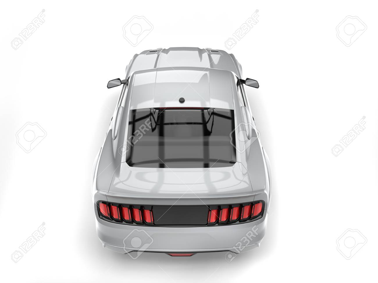 Car Back Top View >> Super Silver Urban Muscle Car Top Down Back View Stock Photo