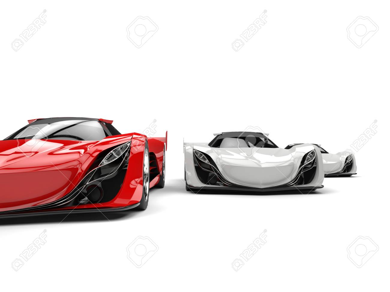 Crimson Red And White Futuristic Concept Sports Cars   Cut Shot Stock Photo    80398255