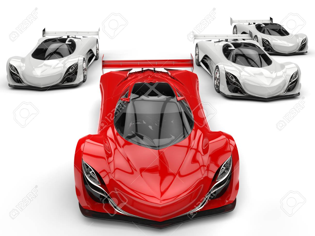 Futuristic Concept Race Sports Cars Racing   Red In Front Of All The White  Ones Stock