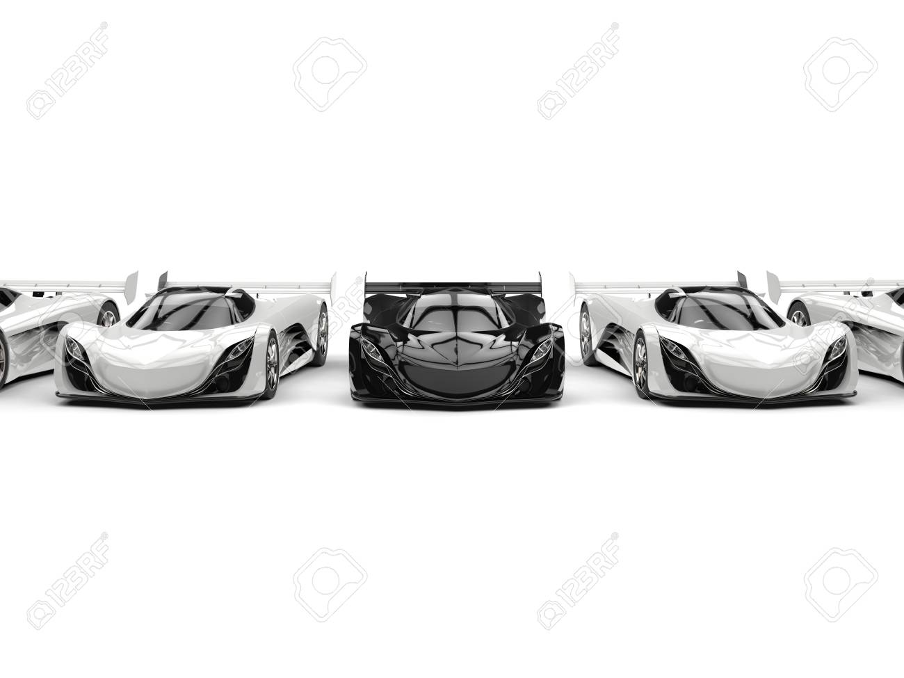 Awesome Futuristic Concept Sports Cars   Black And White Stock Photo    80505801
