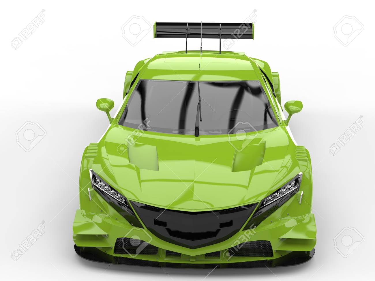 Electric Lime Concept Sports Car   Top Down Front View Stock Photo    80618313
