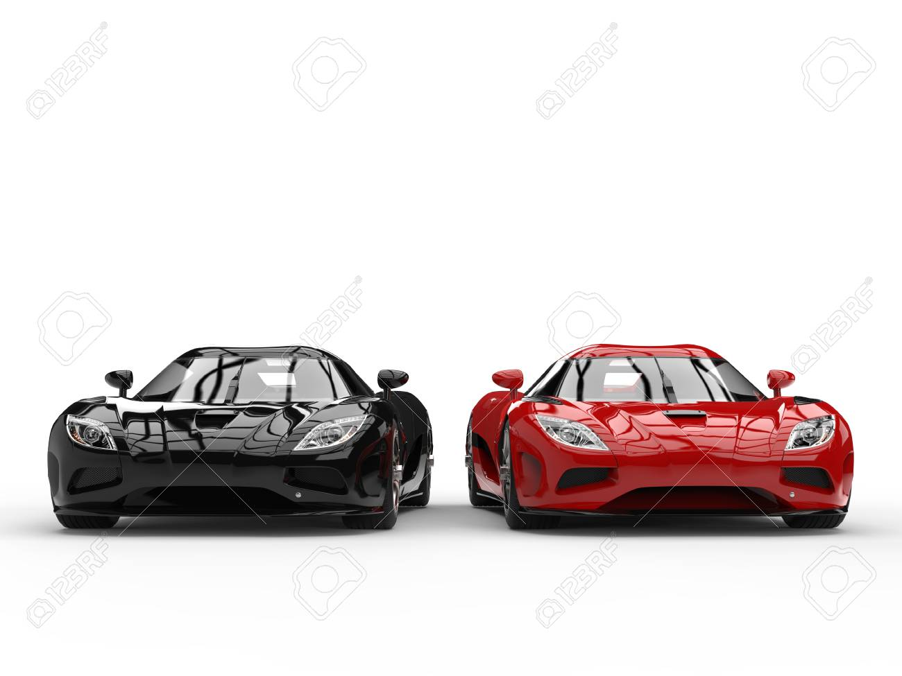 Shiny New Black And Red Sport Concept Cars Side By Side Front Stock Photo Picture And Royalty Free Image Image 80618325