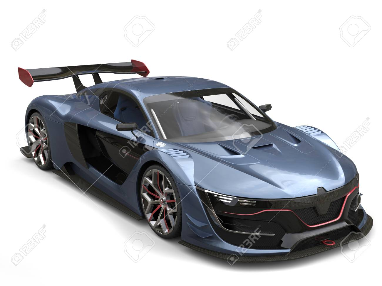 Superb Super Sports Car Metallic Gray Blue Color With Red Details