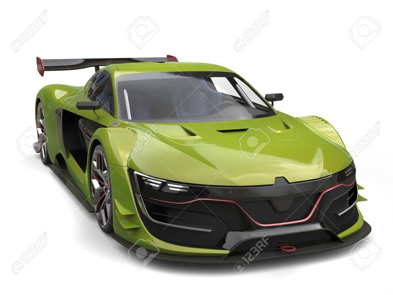 Jungle Green Fast Super Sports Car Stock Photo   80579237