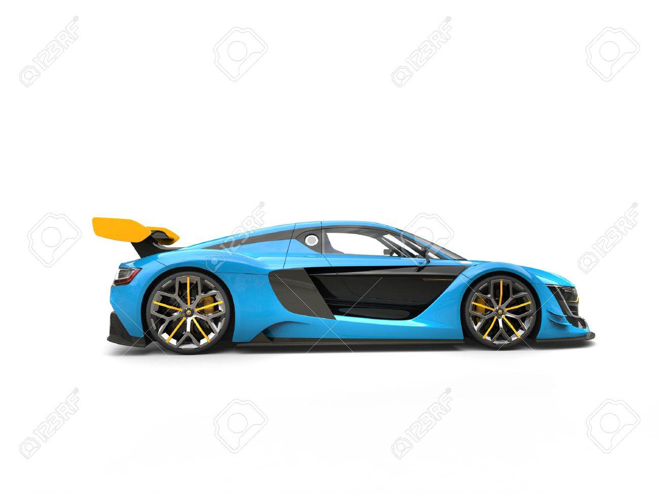 Blue Sports Car With Yellow Spoiler Wing Side View Stock Photo