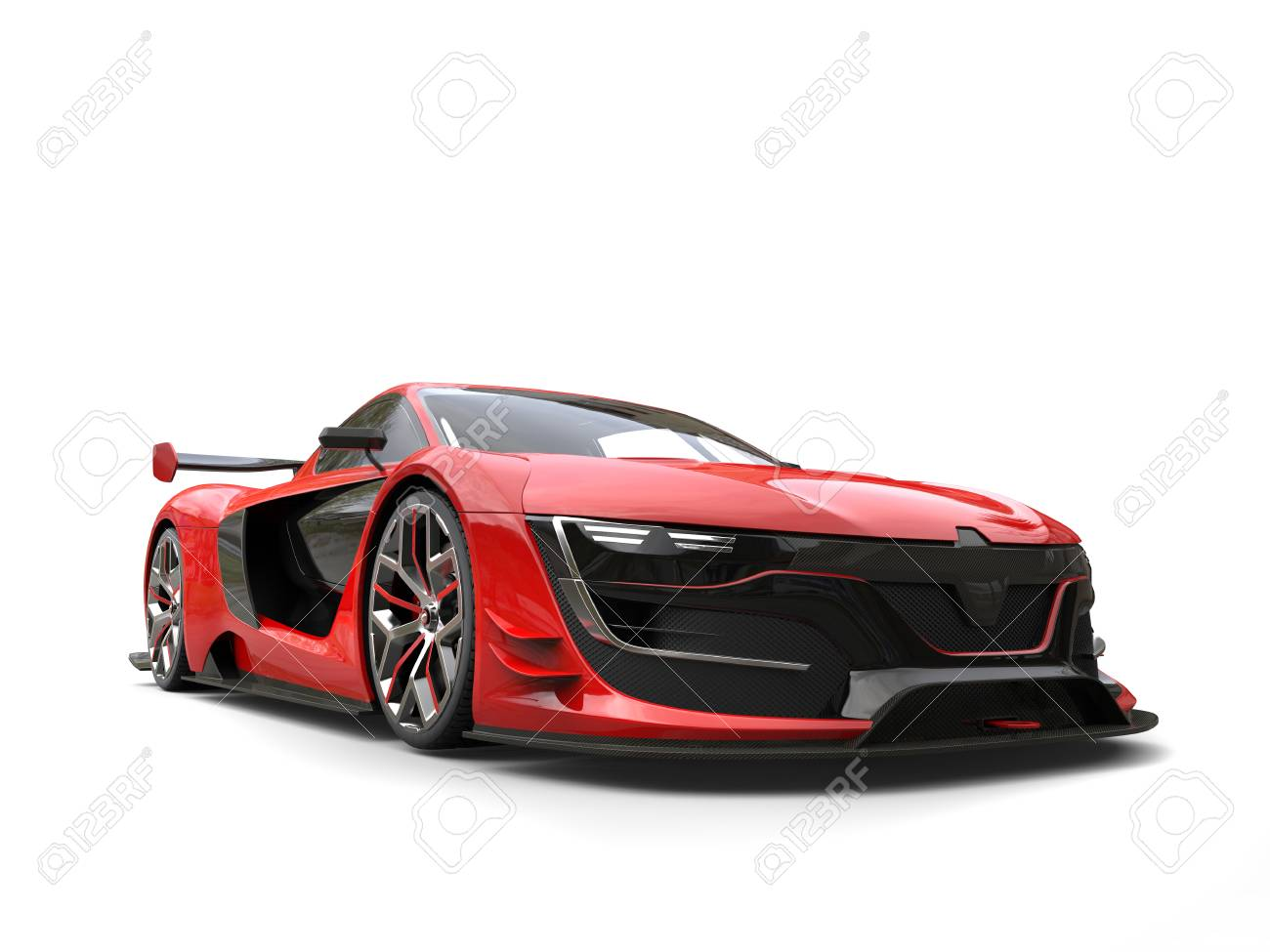 Beautiful Race Sports Car Crimson Red Color Stock Photo Picture