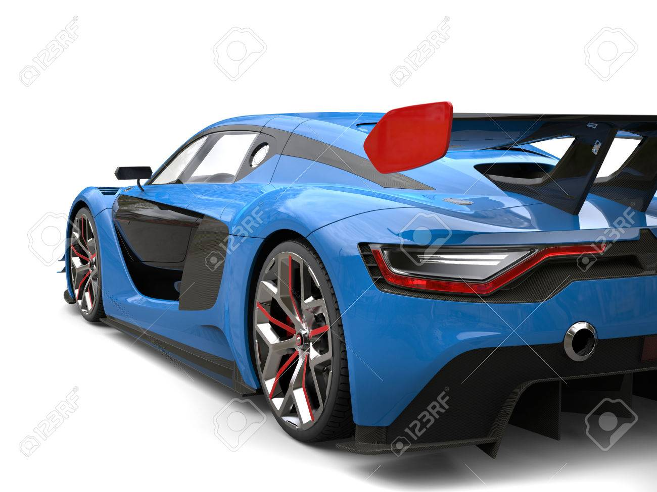 Super Sports Car Navy Blue And Black Colors Scheme With Red