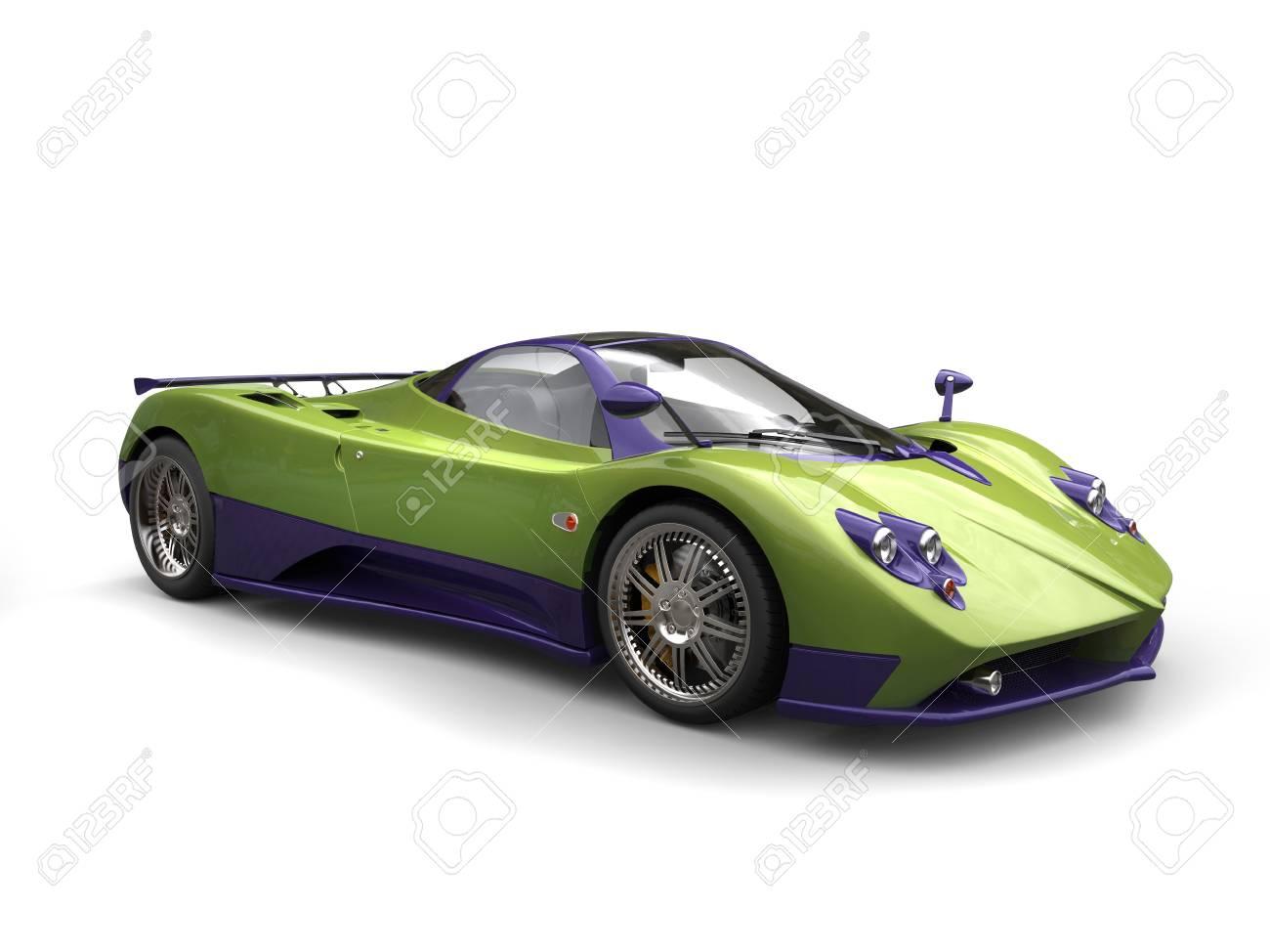 Voiture De Course Schema De Couleur Vert Metallique Violet