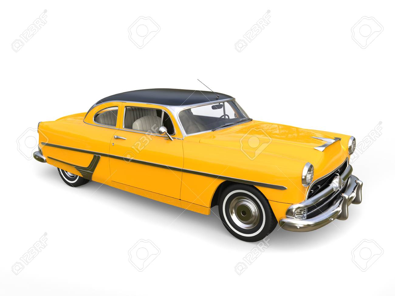 Beautiful Old School Yellow Car With Black Roof Stock Photo, Picture ...