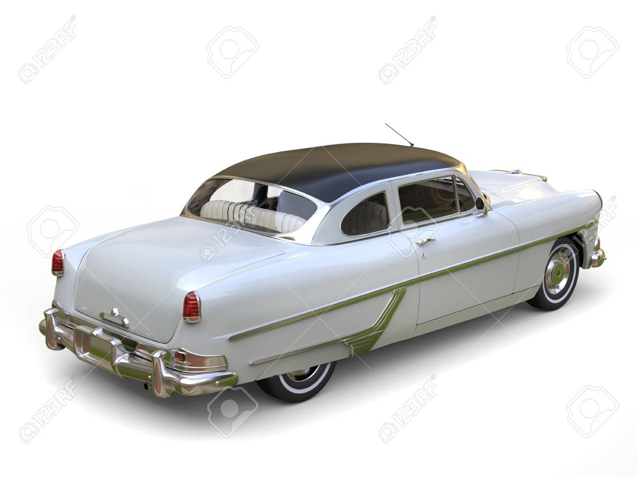 Amazing Old Convertible White Car With Black Roof Stock Photo ...
