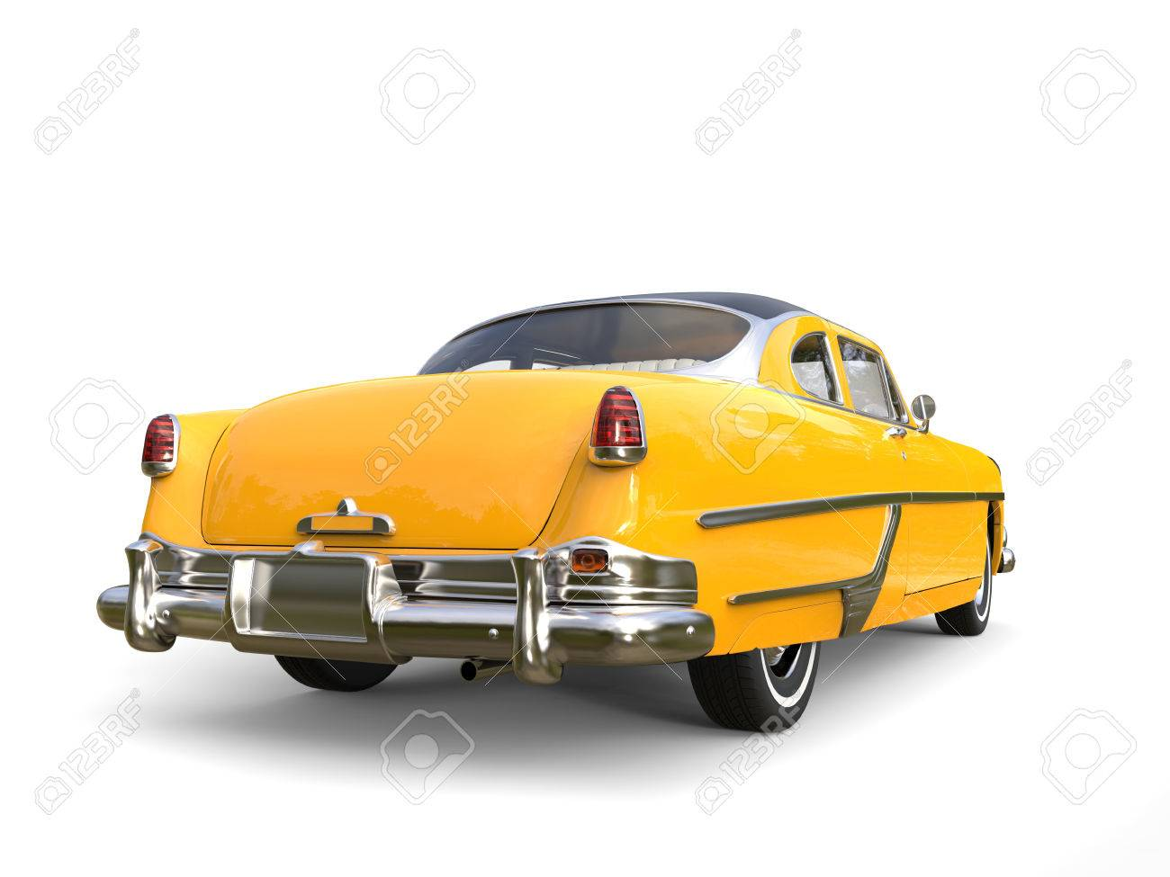 Beautiful Old School Yellow Car With Black Roof - Back View Stock ...
