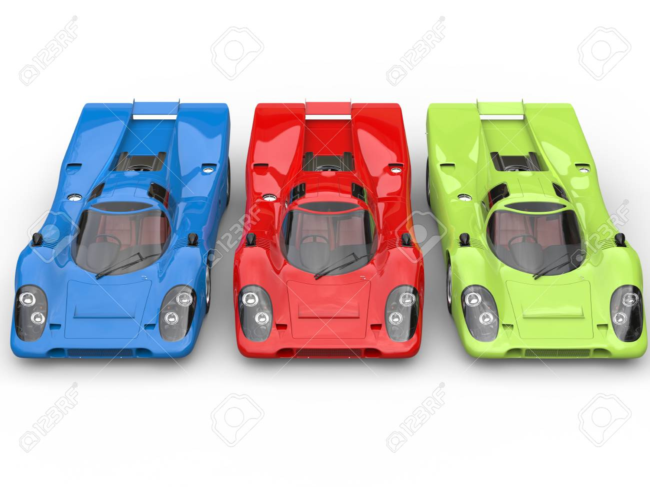 Red Green And Blue Awesome Vintage Race Cars Top View Stock Photo
