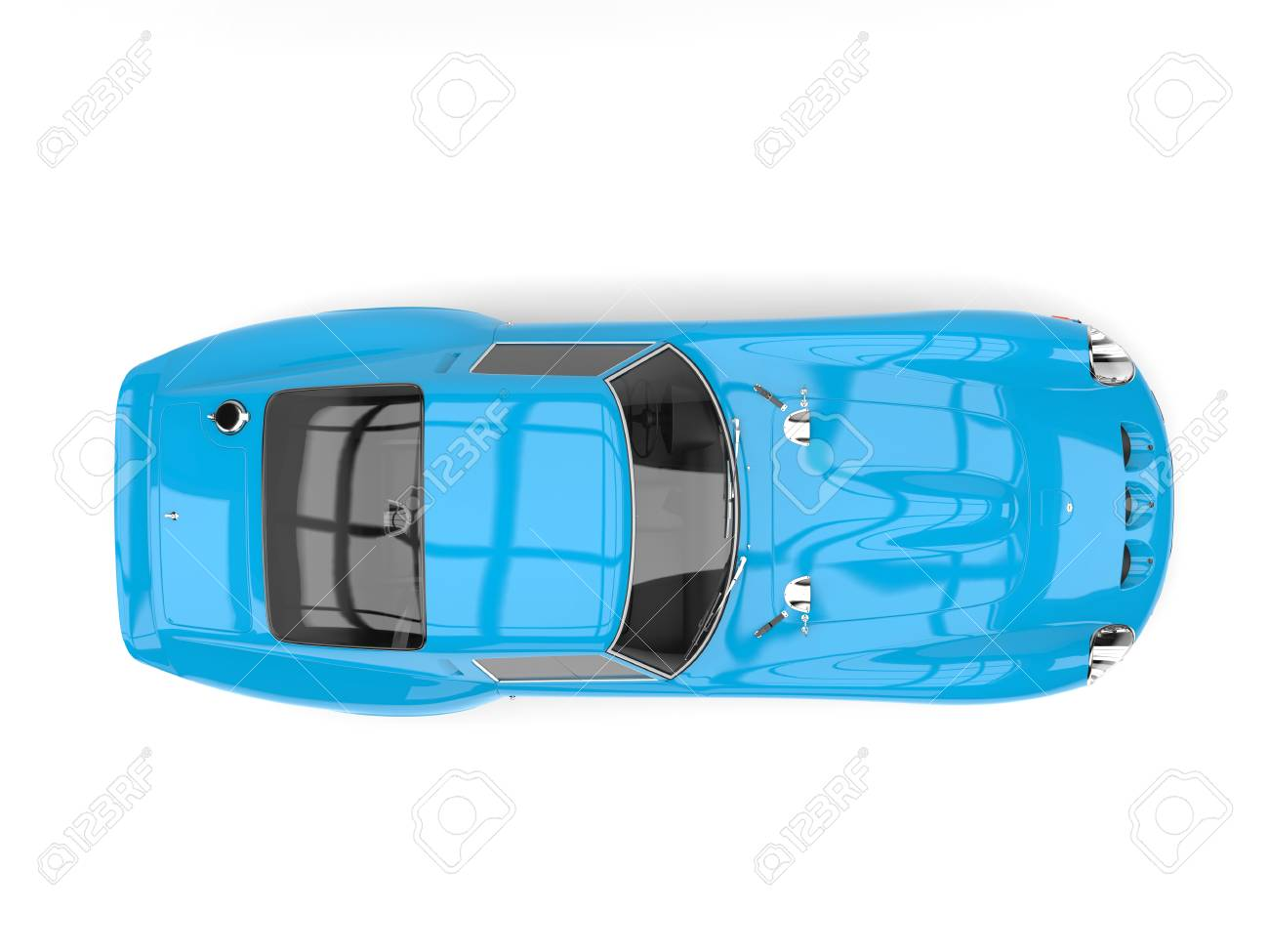 Sky Blue Vintage Race Sports Car Top View Stock Photo Picture And