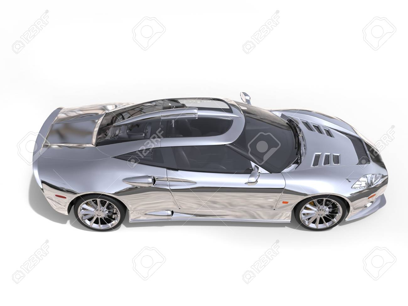 Amazing Shiny Silver Super Race Car Top Down Side View Stock Photo