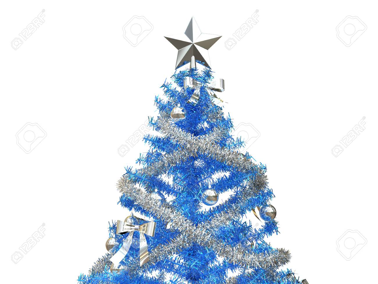 Albero Di Natale Argento E Blu.Immagini Stock Albero Di Natale Blu Brillante Con I Lame E Le Decorazioni D Argento Colpo Del Primo Piano Image 88486645