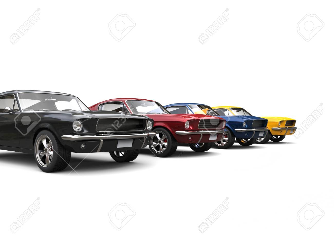 Amazing Vintage American Muscle Cars In Cool Metallic Colors Stock ...