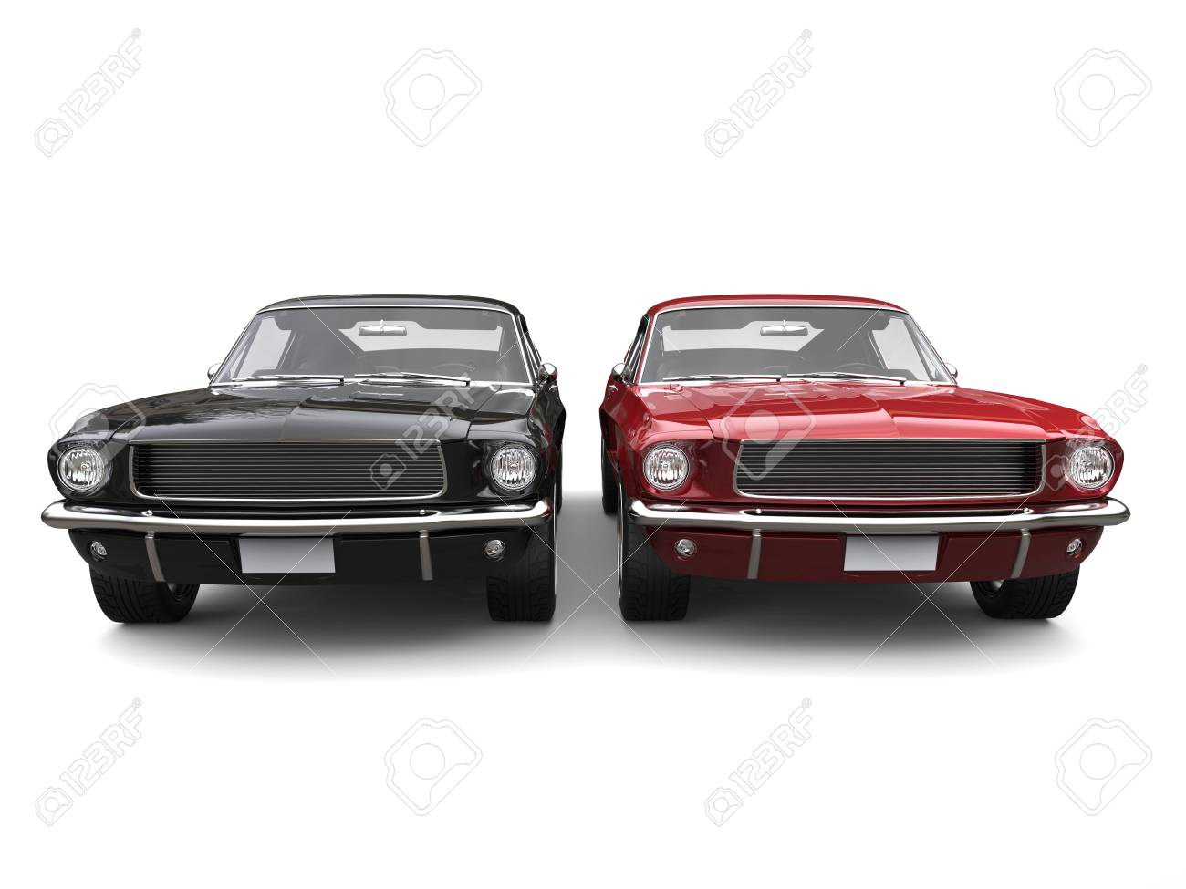 Amazing Vintage American Muscle Cars Red And Black Stock Photo