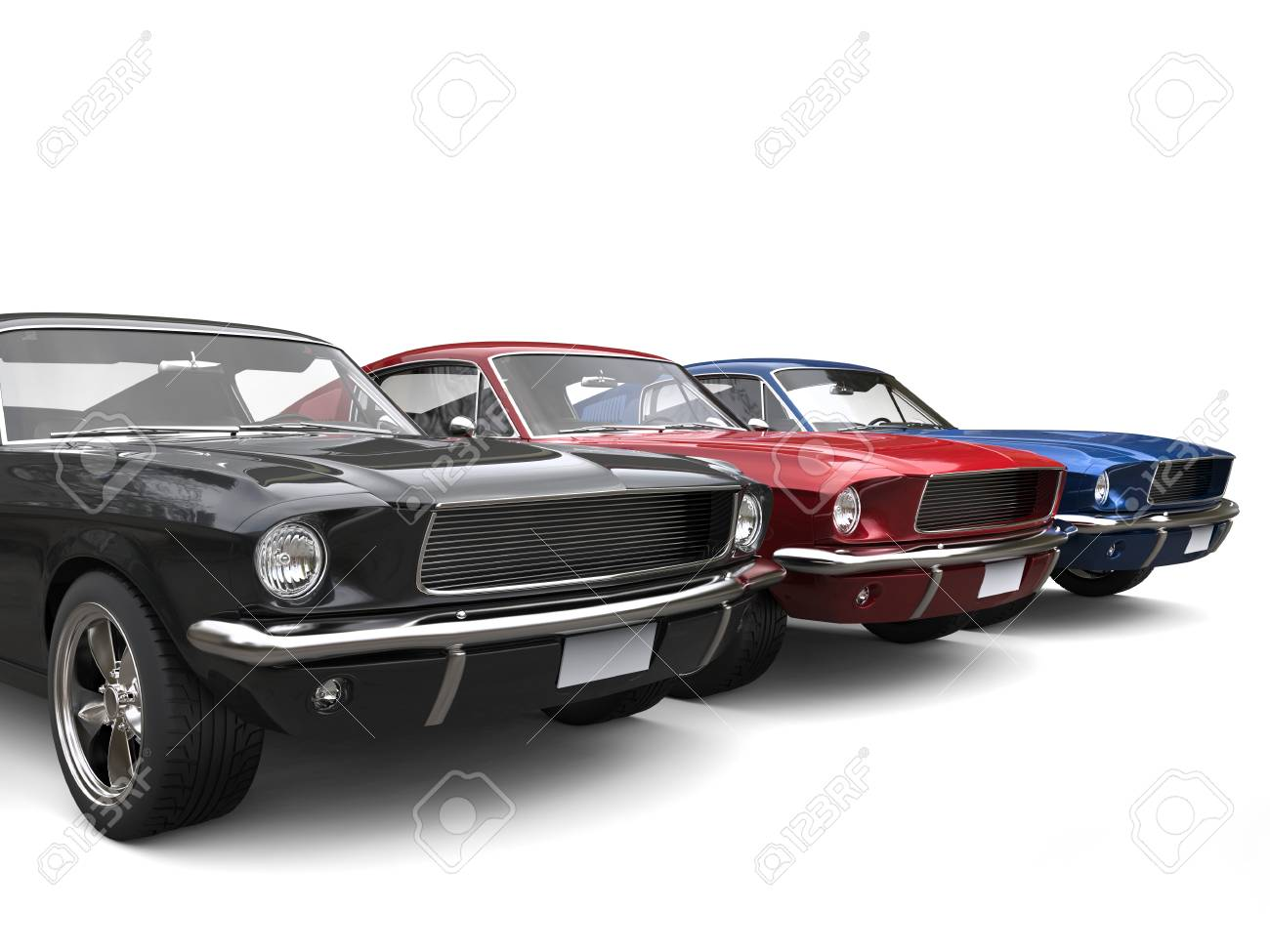 Beautiful Restored Vintage American Muscle Cars Stock Photo, Picture ...