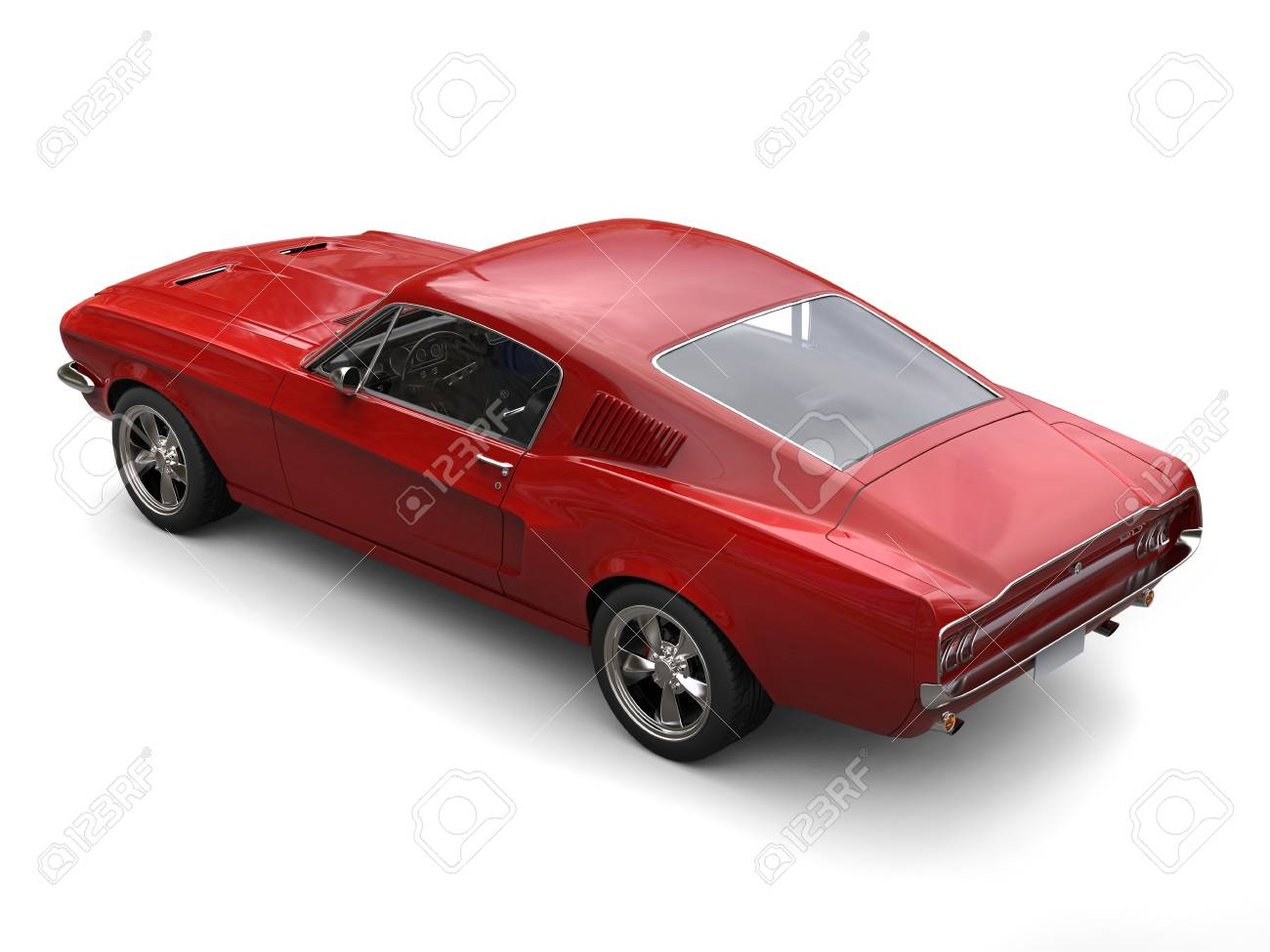 Crimson Red American Vintage Muscle Car Rear Top Down View Stock