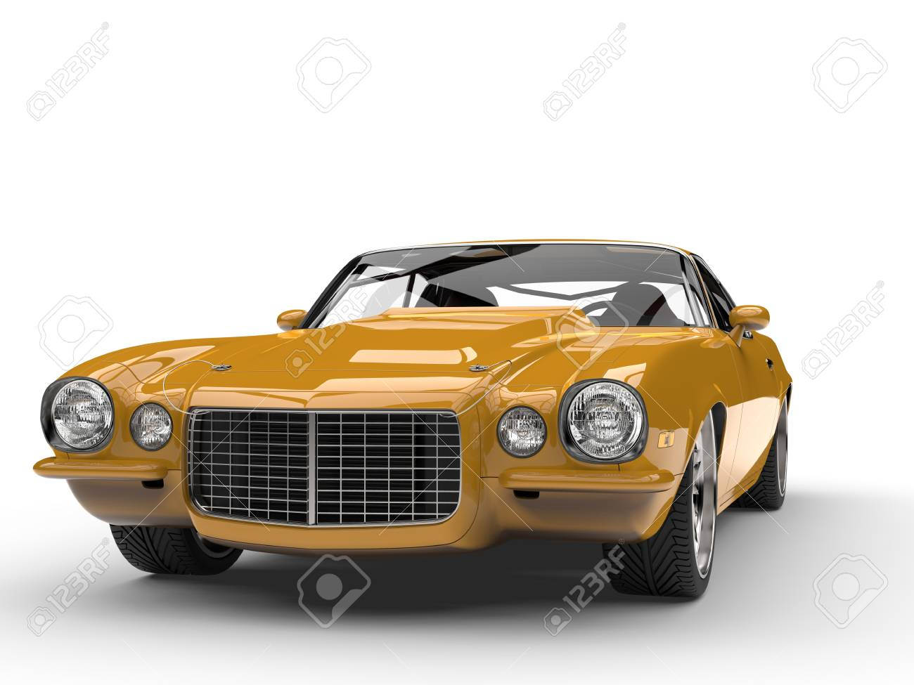 Mustard Yellow Old School Vintage American Car - Front View Stock ...