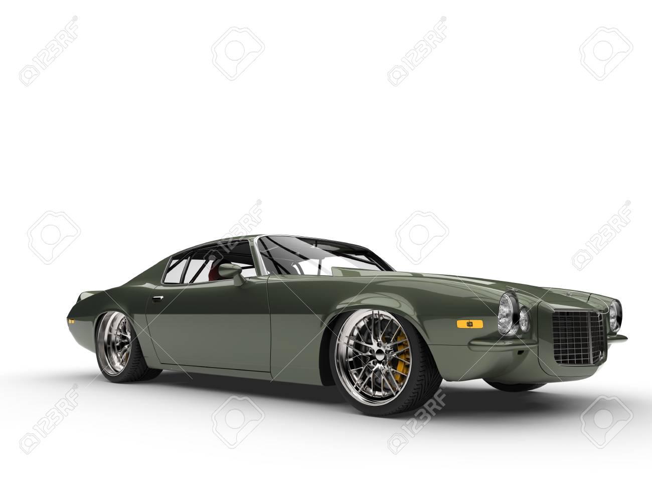 Deep Metallic Green Classic Old School American Car Stock Photo ...