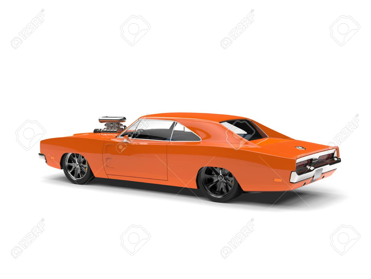 Vintage Orange American Muscle Car Rear Side View Stock Photo