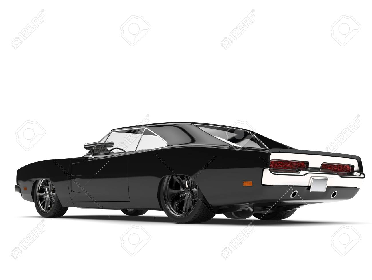 Pitch Black American Vintage Muscle Car Rear Side View Stock Photo