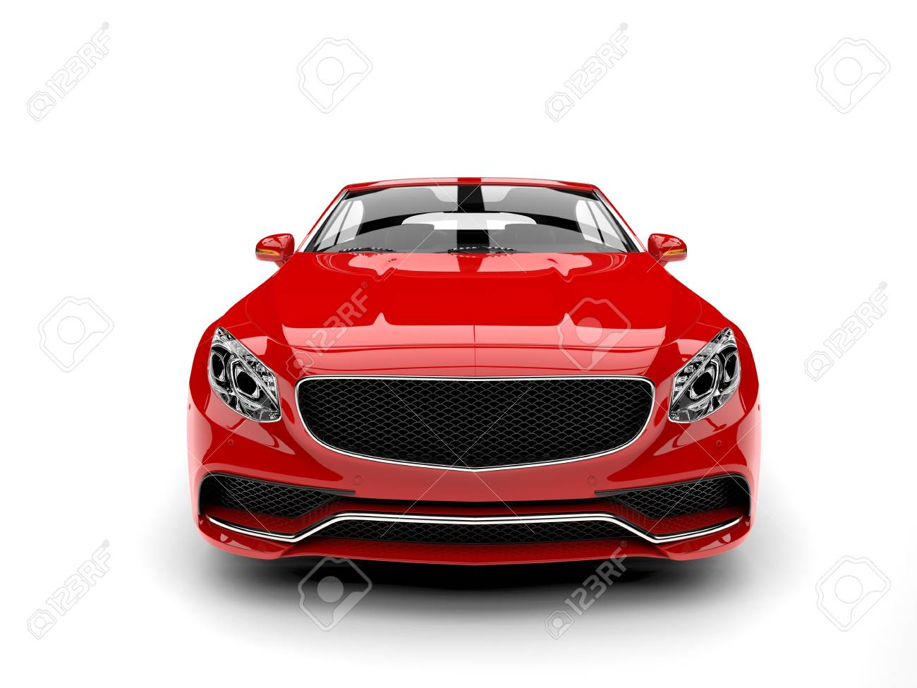 Beautiful Red Luxury Modern Convertible Car Front View Stock Photo