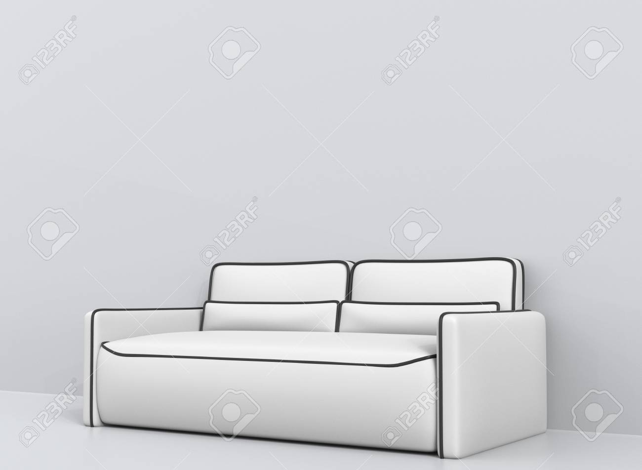 Excellent Modern White Leather Sofa With Black Outlines Angle Shot Caraccident5 Cool Chair Designs And Ideas Caraccident5Info