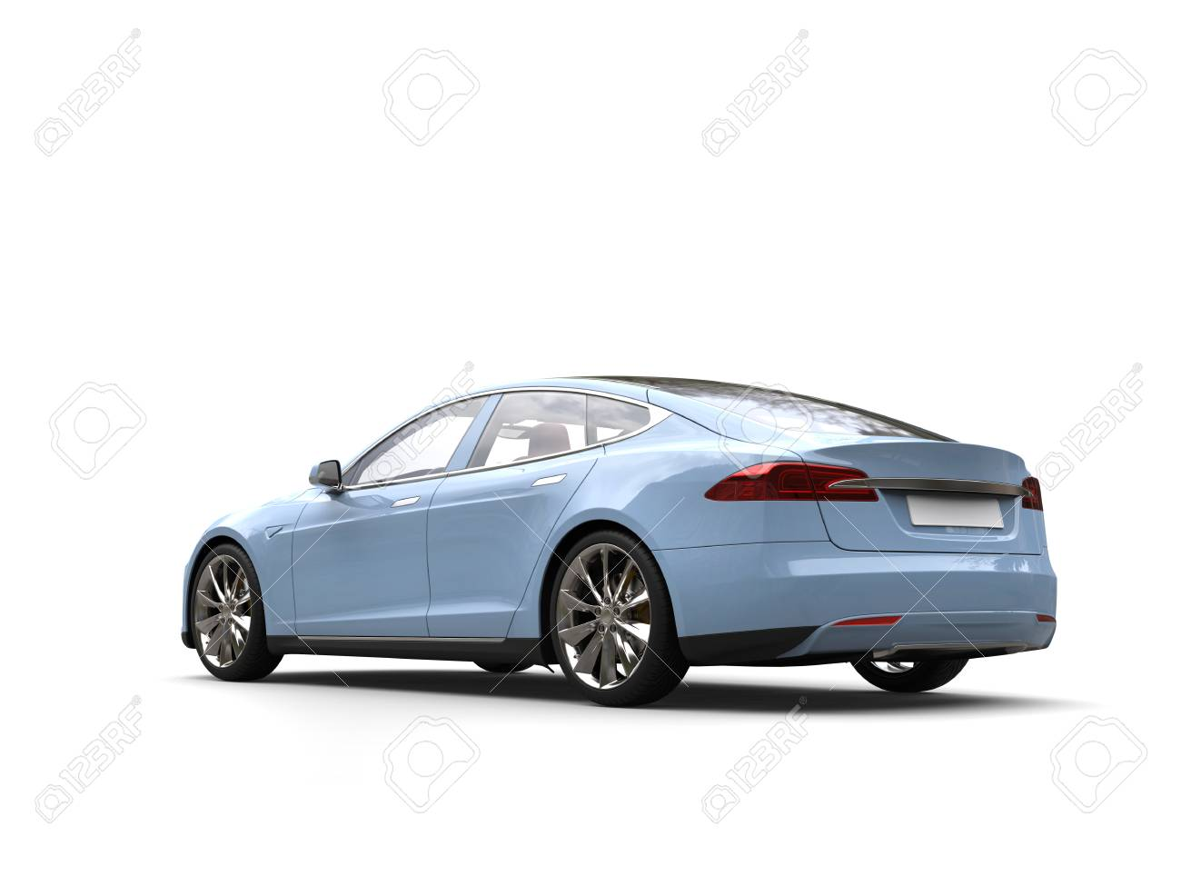 Pastel Blue Modern Electric Sports Car Rear View Stock Photo Picture And Royalty Free Image Image 109772761