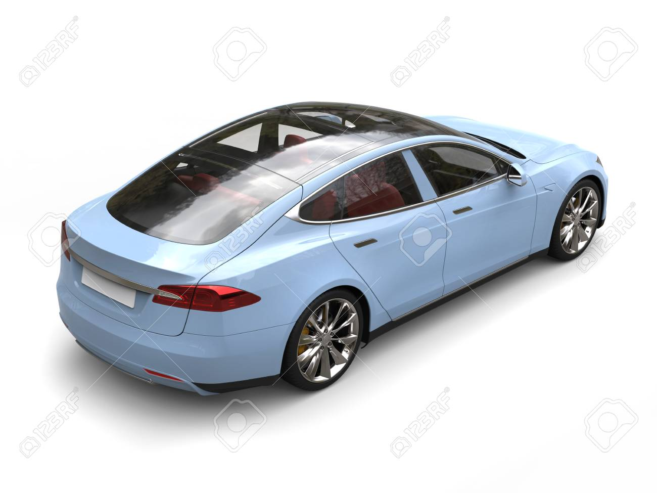 Pastel Blue Modern Electric Sports Car Tail View Stock Photo Picture And Royalty Free Image Image 109753685