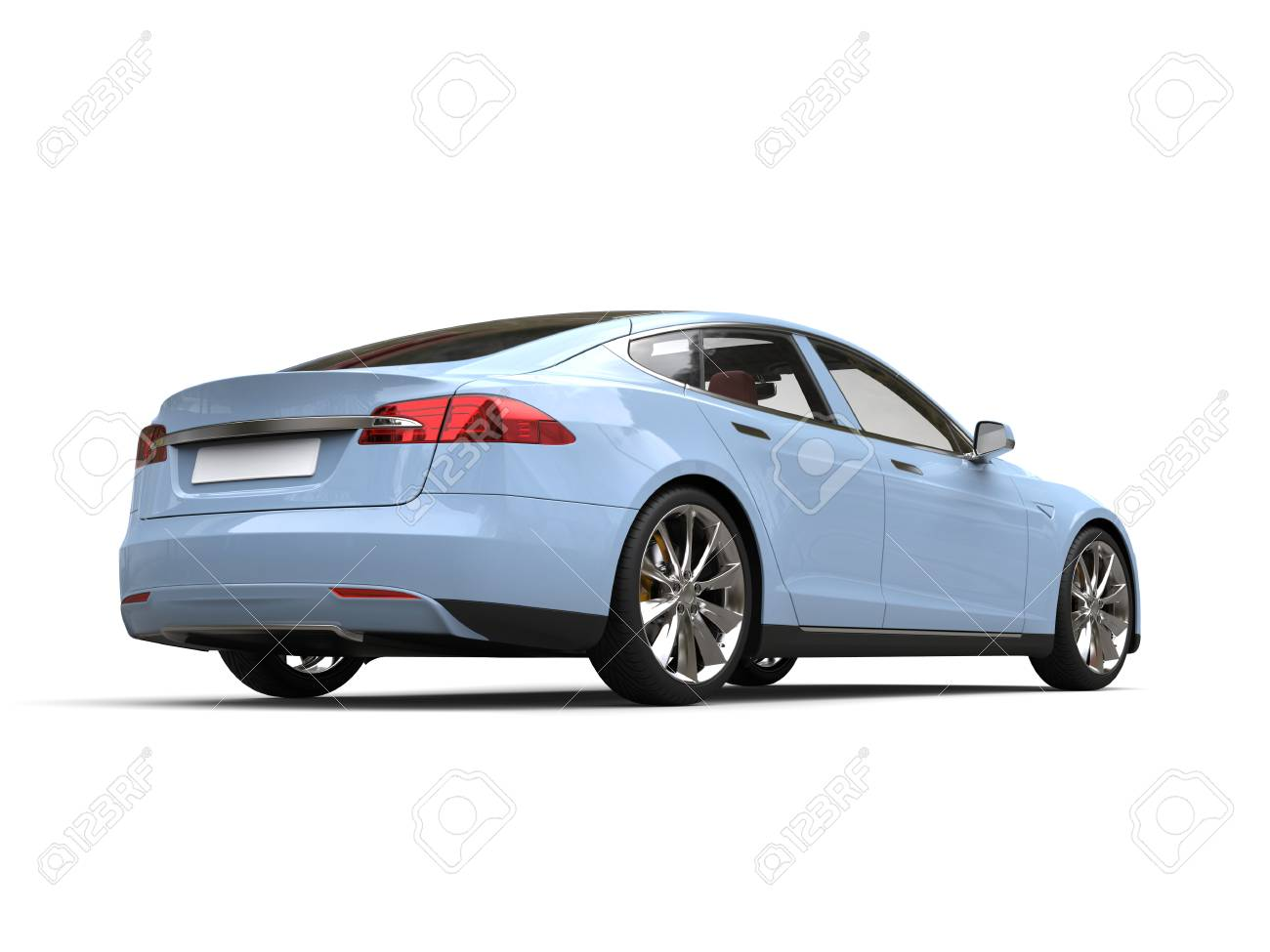 Pastel Blue Modern Electric Sports Car Back View Stock Photo Picture And Royalty Free Image Image 108060128