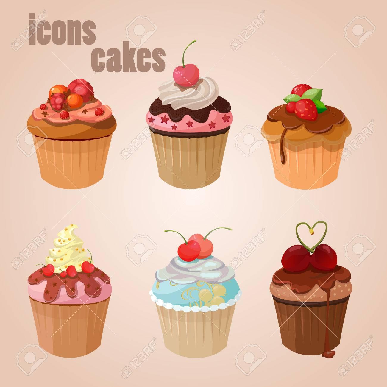 Icons Kuchen Nachtisch Der Sussen Schokolade Lizenzfrei Nutzbare