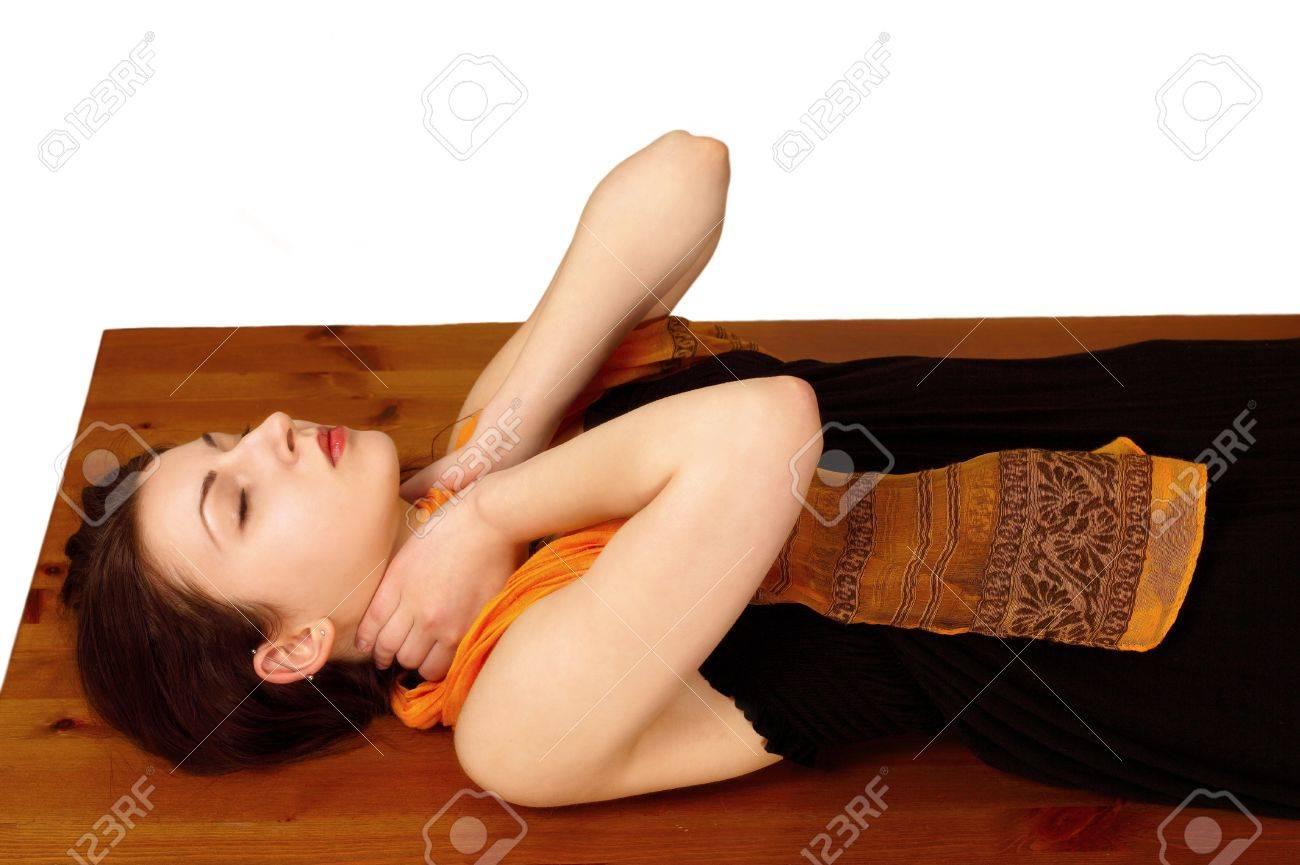 Reiki energy self-healing at neck position Stock Photo - 9246614